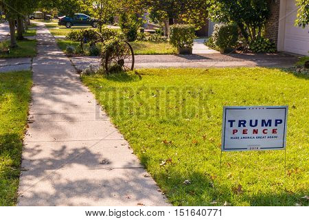 Lexington KY USA - October 6 2016: Trump Pence yard sign at residential street for Presidential candidate Donald Trump 2016.