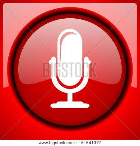 microphone red icon plastic glossy button