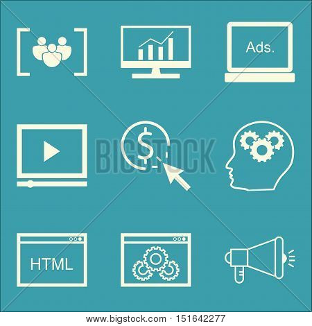 Set Of Seo, Marketing And Advertising Icons On Display Advertising, Html Code, Video Advertising And