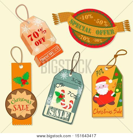 Set labels Christmas sale Special offer Discount