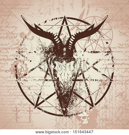 vector illustration with skull of goat and pentagram with splashes on the background of old papyrus with magical inscriptions and symbols