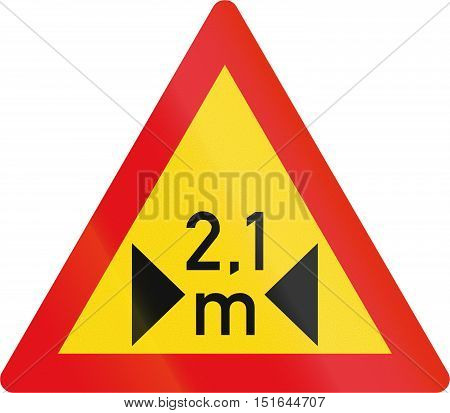 Temporary Road Sign Used In The African Country Of Botswana - Width Restriction Ahead