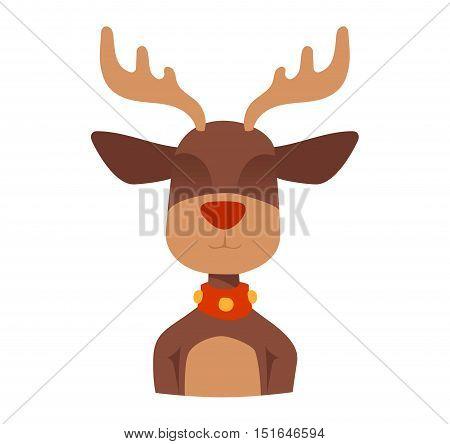 Santa Claus happy cartoon Christmas deer flat icon. Reindeer vector art flat illustration. Deer animal icon isolated. Reindeer vector symbol. Reindeer silhouette. Deer icon isolated on white