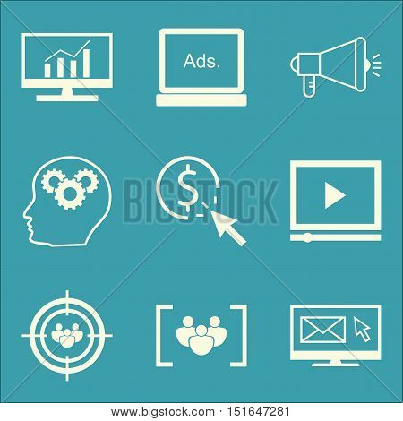 Set Of Seo, Marketing And Advertising Icons On Video Advertising, Display Advertising, Creativity An