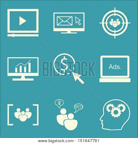 Set Of Seo, Marketing And Advertising Icons On Display Advertising, Email Marketing, Video Advertisi