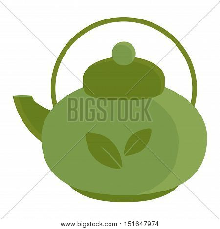 Chinese tea vector symbols. Tea set on white background. Traditional eastern teapot and teacups. Some traditional chinese tea ceremony. Chinese tea flat vector illustration set.