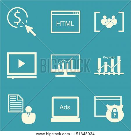 Set Of Seo, Marketing And Advertising Icons On Display Advertising, Video Advertising, Pay Per Click
