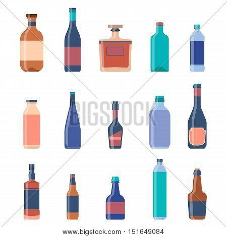 Different bottles collections. Beer vintage background. Liquor bottles, alcoholic drinks, vodka bottle, beer bottle. Vector Eps 10