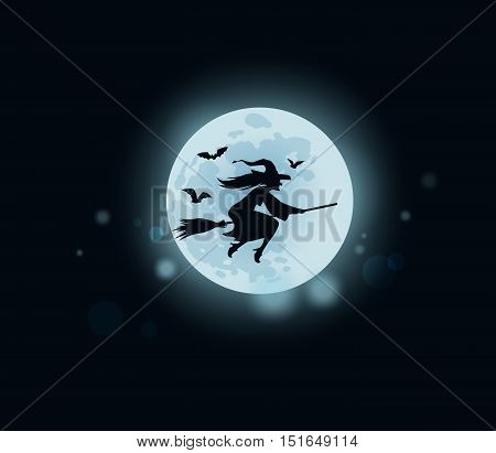 Old witch flying on broomstick. Vector illustration