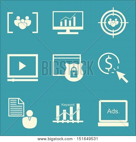 Set Of Seo, Marketing And Advertising Icons On Focus Group, Video Advertising, Audience Targeting An