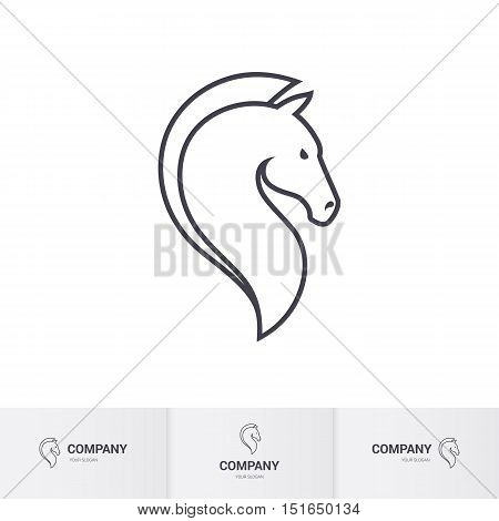 Stylized Horse Head for Mascot Logo Template on White