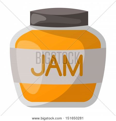 Glass jar with orange jam isolated on white background. Preserve fruity dessert confiture color fruit conserved orange jam jar. Dessert marmalade healthy ingredient jam jar vector.