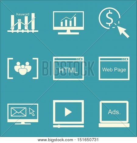 Set Of Seo, Marketing And Advertising Icons On Video Advertising, Pay Per Click, Email Marketing And