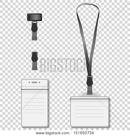 Set of lanyard name tag holder retractor end badge templates. Vector EPS10