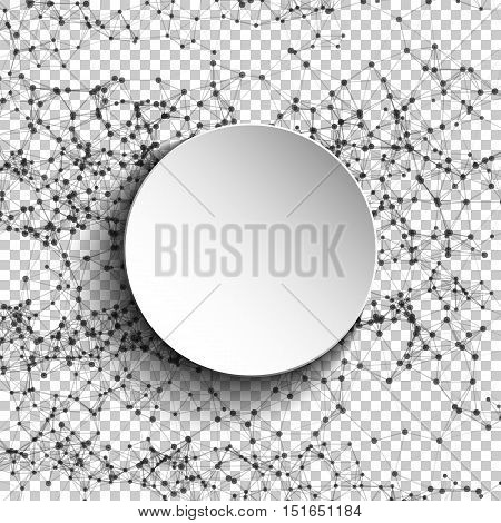 Abstract mesh white round. Futuristic technology low poly style. Elegant dots background for presentations. Flying debris lines illustration. Vector EPS10