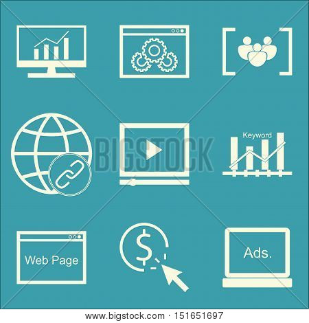 Set Of Seo, Marketing And Advertising Icons On Website Optimization, Video Advertising, Web Page And