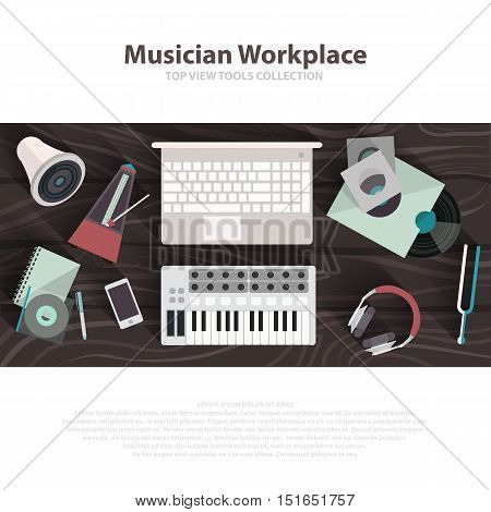 Musician workspace vector flat illustrations. Musician working cabinet with digital equipment. Sound art concept. Computer, headphones, sequencer, loudspeaker isolated on white background. Brown table. Vector eps10 poster