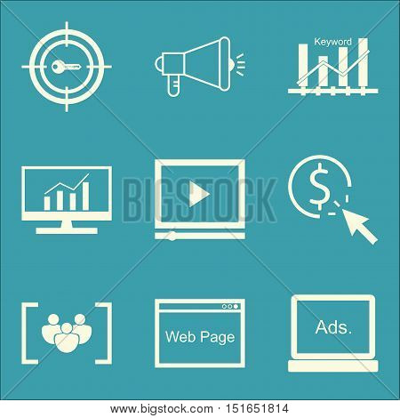 Set Of Seo, Marketing And Advertising Icons On Video Advertising, Keyword Ranking, Focus Group And M