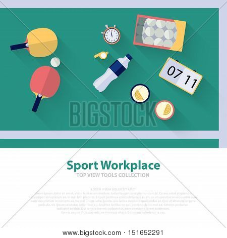 Pingpong green workspace flat icons. Ping pong table tennis Vector illustration eps10
