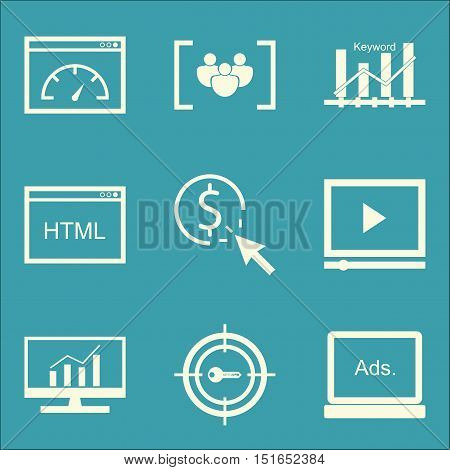 Set Of Seo, Marketing And Advertising Icons On Target Keywords, Focus Group, Keyword Ranking And Mor
