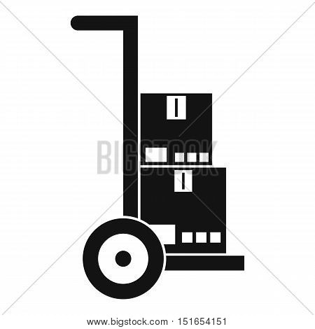 Hand cart with cardboards icon. Simple illustration of hand cart vector icon for web