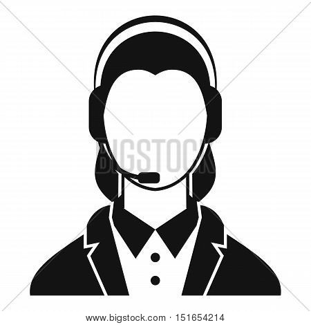 Support phone operator in headset icon. Simple illustration of phone operator in headset vector icon for web
