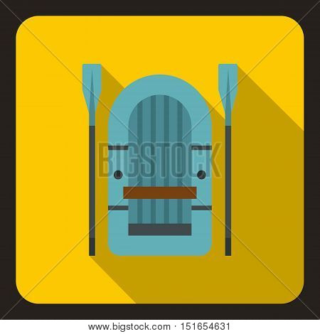 Inflatable boat with paddles icon. Flat illustration of inflatable boat with paddles vector icon for web