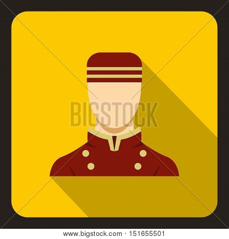 Doorman in red uniform icon. Flat illustration of doorman vector icon for web