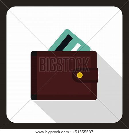 Brown wallet with credit card icon. Flat illustration of wallet with credit card vector icon for web