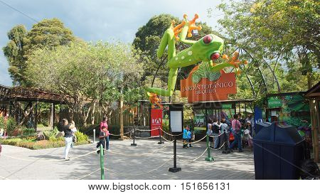 Quito, Pichincha / Ecuador - October 12 2016: Entrance to the Botanical Garden of Quito located in the La Carolina Park in the north of the city