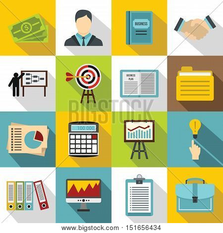 Business plan icons set. Flat illustration of 16 business plan vector icons for web