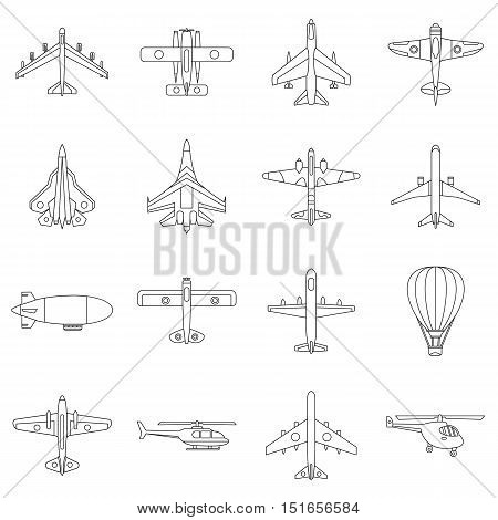 Aviation icons set. Outline illustration of 16 aviation vector icons for web