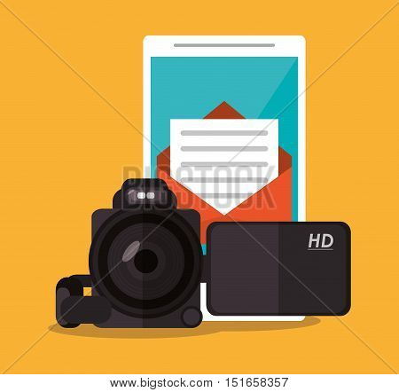 Smartphone videocamera and envelope icon. Digital marketing ecommerce shopping online and media theme. Colorful design. Vector illustration