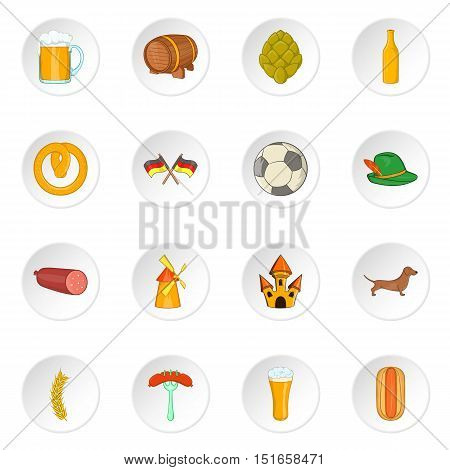 Germany icons set. Cartoon illustration of 16 germany vector icons for web
