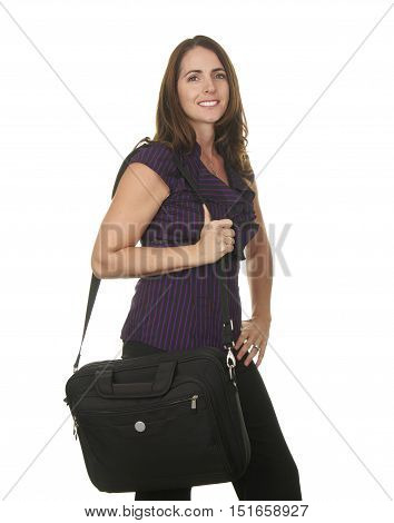 Beautiful Brunette Business Woman in her Late Thirties on a White Background Holding a Laptop in a bag
