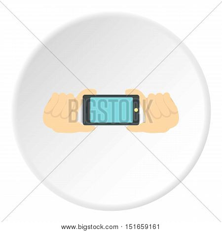 Hands with phone icon. Flat illustration of phone vector icon for web design