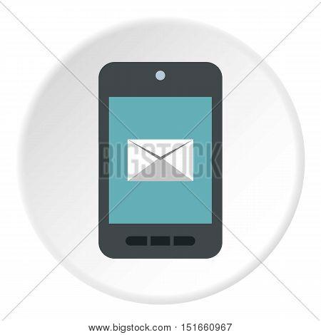 Writing e-mail on phone icon. Flat illustration of writing e-mail on phone vector icon for web