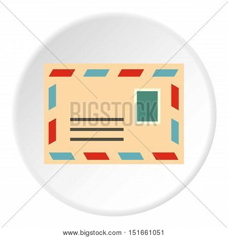 Envelope with stamp icon. Flat illustration of envelope with stamp vector icon for web