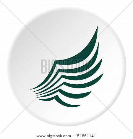 Green birds wing with feathers icon. Flat illustration of green birds wing with feathers vector icon for web