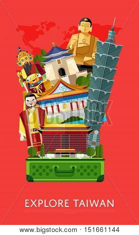 Travel Taiwan concept with Taiwan landmarks vector. Adventure in Asia. Taiwan Buddha. Famous Taiwan travel places. Explore Taiwan landmarks. Discover Taiwan and Taiwanese culture. Oriental landmarks. Taiwan art. Taiwanese vacation.