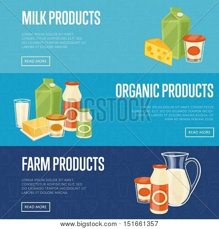 Farm, milk and organic products horizontal website templates with different dairy composition isolated vector illustration. Organic farmers food. Organic food and dairy product concept. Milk product icon. Cartoon dairy product. Dairy icon.