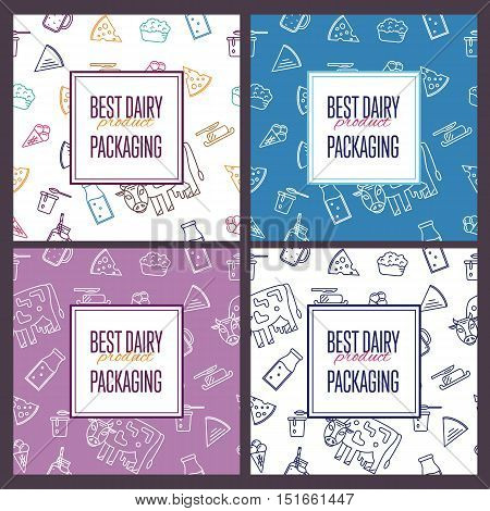 Best dairy product seamless patterns for packaging with different dairy icons vector illustration. Organic farming background. Organic farmers food. Organic food and dairy product concept. Milk product icon. Cartoon dairy product. Dairy icon.