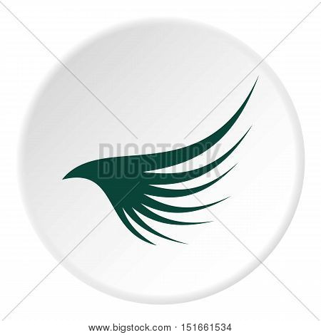 Green wing icon. Flat illustration of green wing vector icon for web