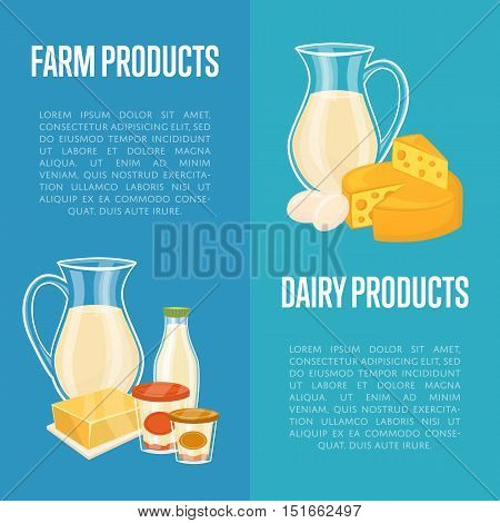 Dairy products vertical flyers with different milk composition isolated vector illustrations. Nutritious and healthy products. Organic farmers food. Organic food and dairy product concept. Milk product icon. Cartoon dairy product. Dairy icon.