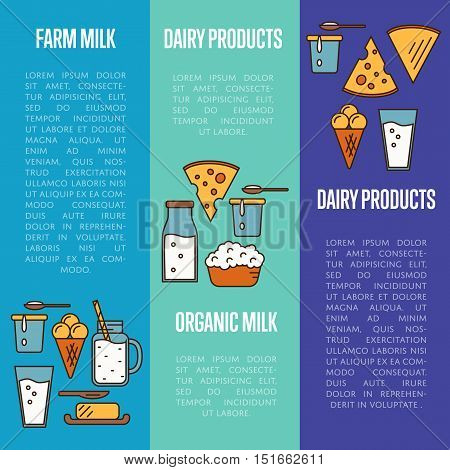 Organic milk products vertical flyers with different dairy composition isolated vector illustrations. Traditional and healthy products. Organic farmers food. Organic food and dairy product concept. Milk product icon. Cartoon dairy product. Dairy icon.