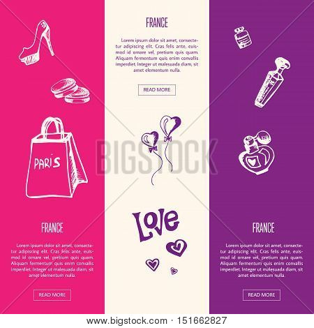 France romantic touristic banners. Shopping bag, cosmetics, shoes, sweet love heart balloons, perfumes hand drawn with vector illustrations on colored backgrounds. France parfume icons. Travel to France symbol concept. Discover France. Cartoon France icon