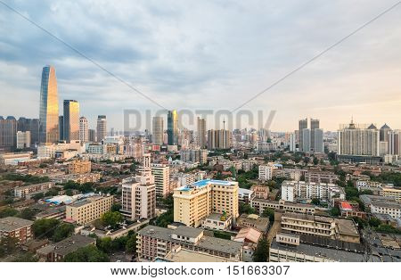 aerial view of beautiful tianjin at dusk China