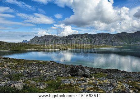 landscape of Mageroya Island Finnmark province Norway