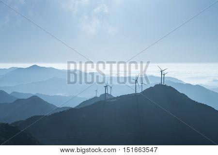 inland wind farm on the top of jiugong mountain hubei provinceChina