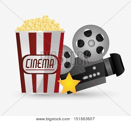 Videocamera and pop corn icon. Cinema movie video film and entertainment theme. Colorful design. Vector illustration
